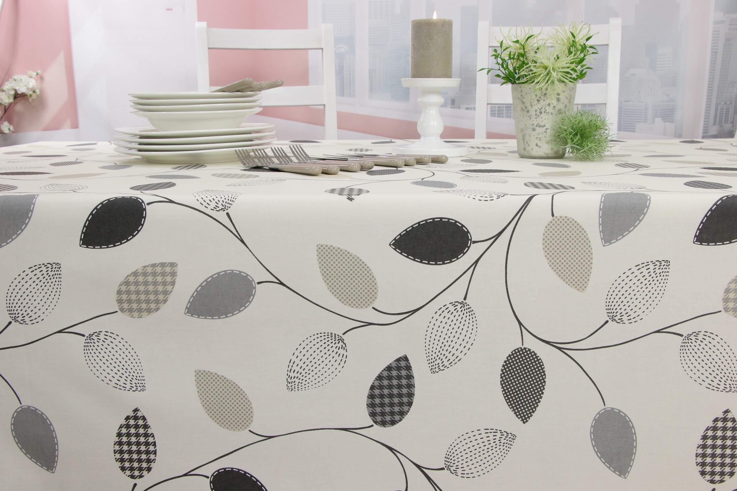 Garten Tischdecken Abwaschbar Luxus Abwaschbare Tischdecke Creme Blätter Gemustert Breite 90 Cm