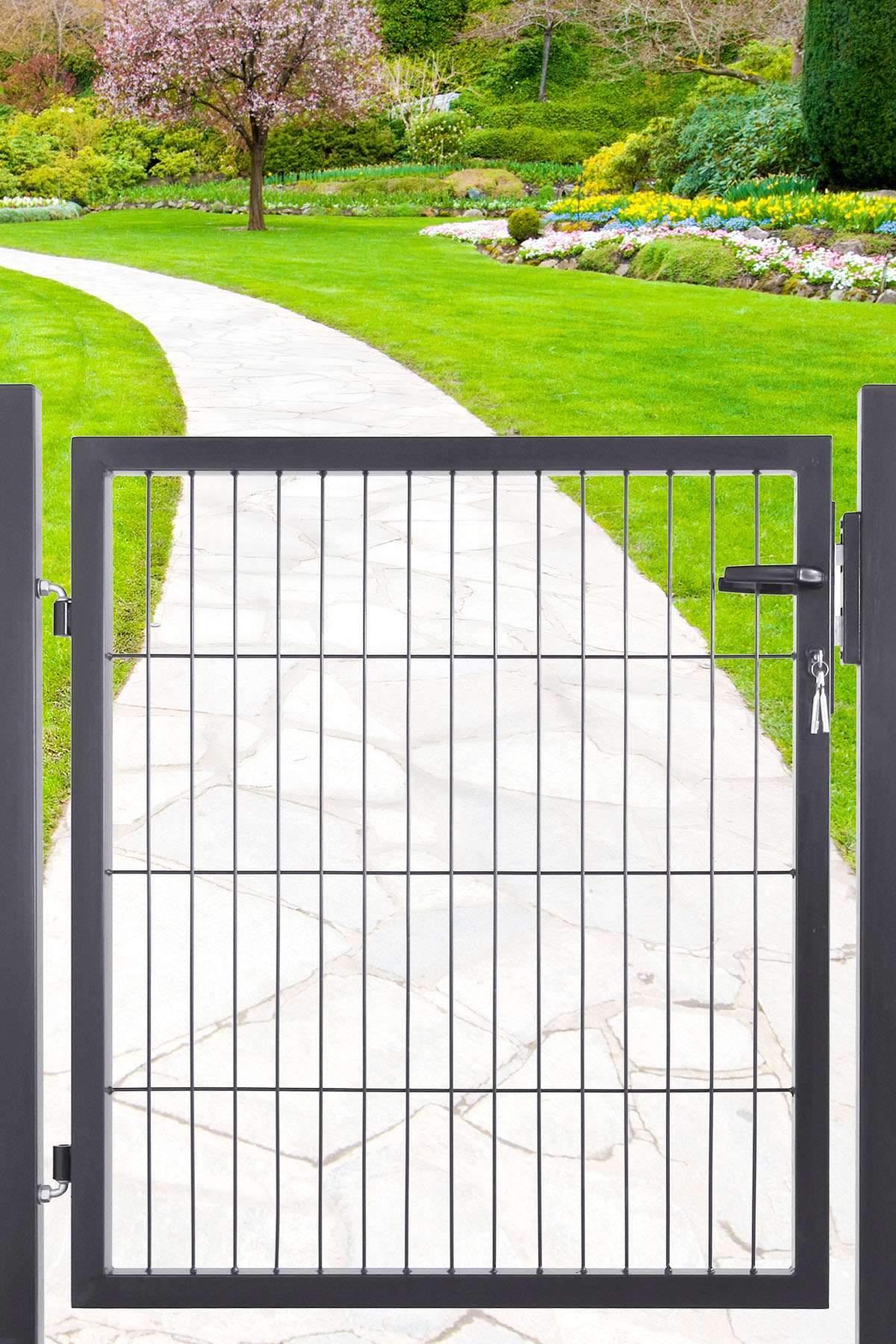 Garten tore Genial Gartentor Für Doppelstabmatte Anthrazit Ral 7016 Einflügelig