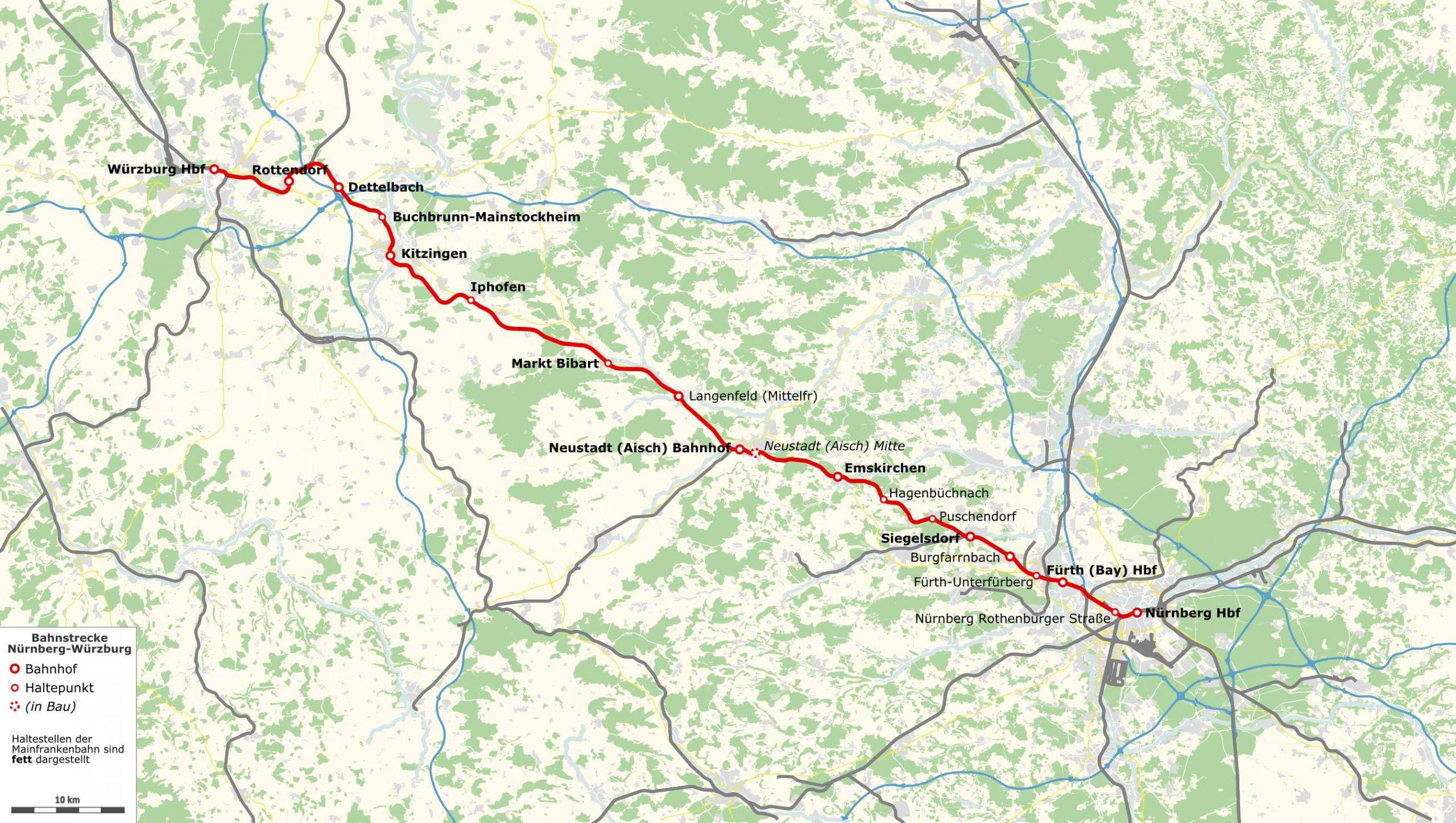 Karte Bahnstrecke Nürnberg–Würzburg