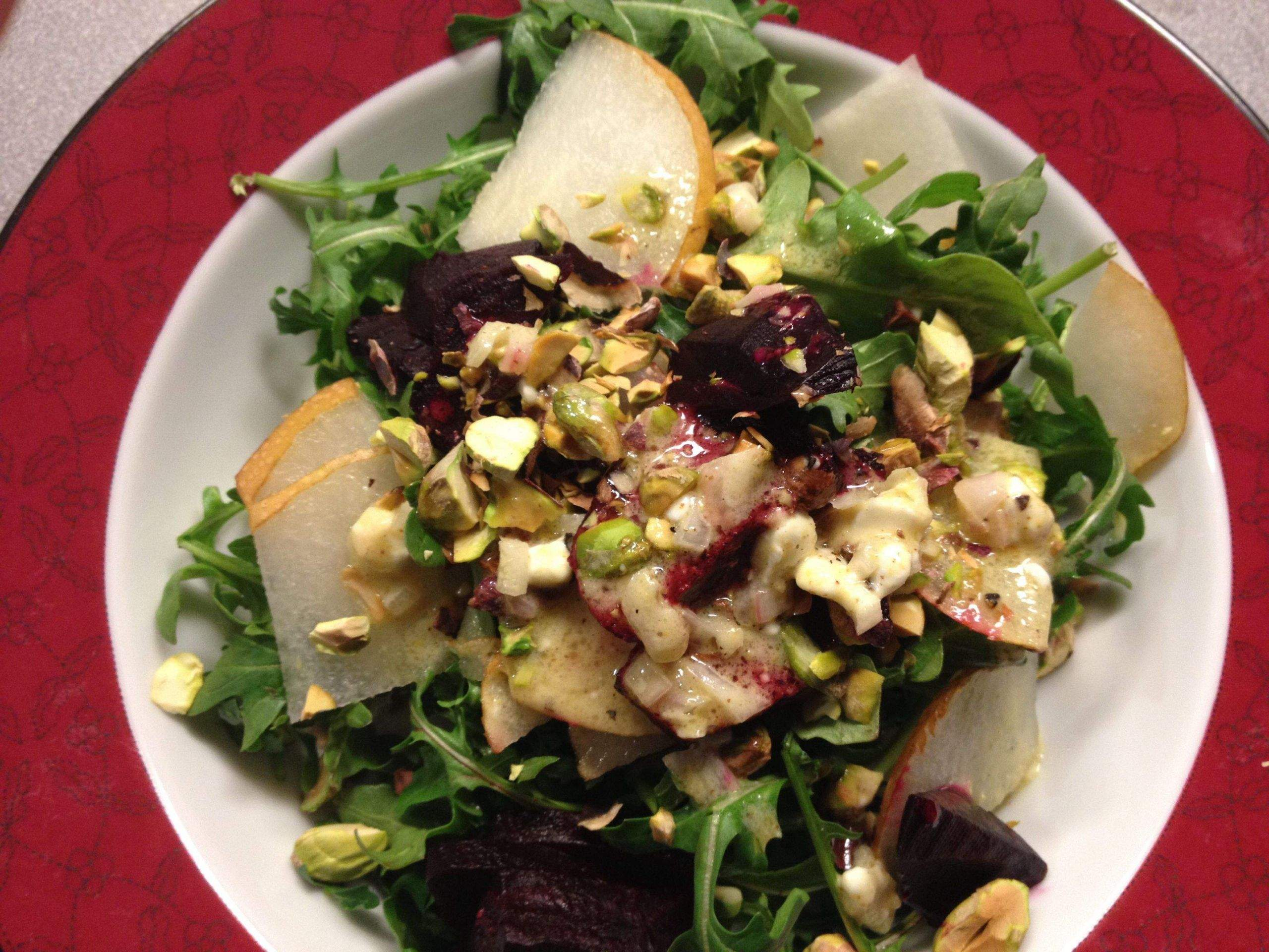 beet garten das beste von roasted beet pear pistachio arugula salad with a goat of beet garten scaled