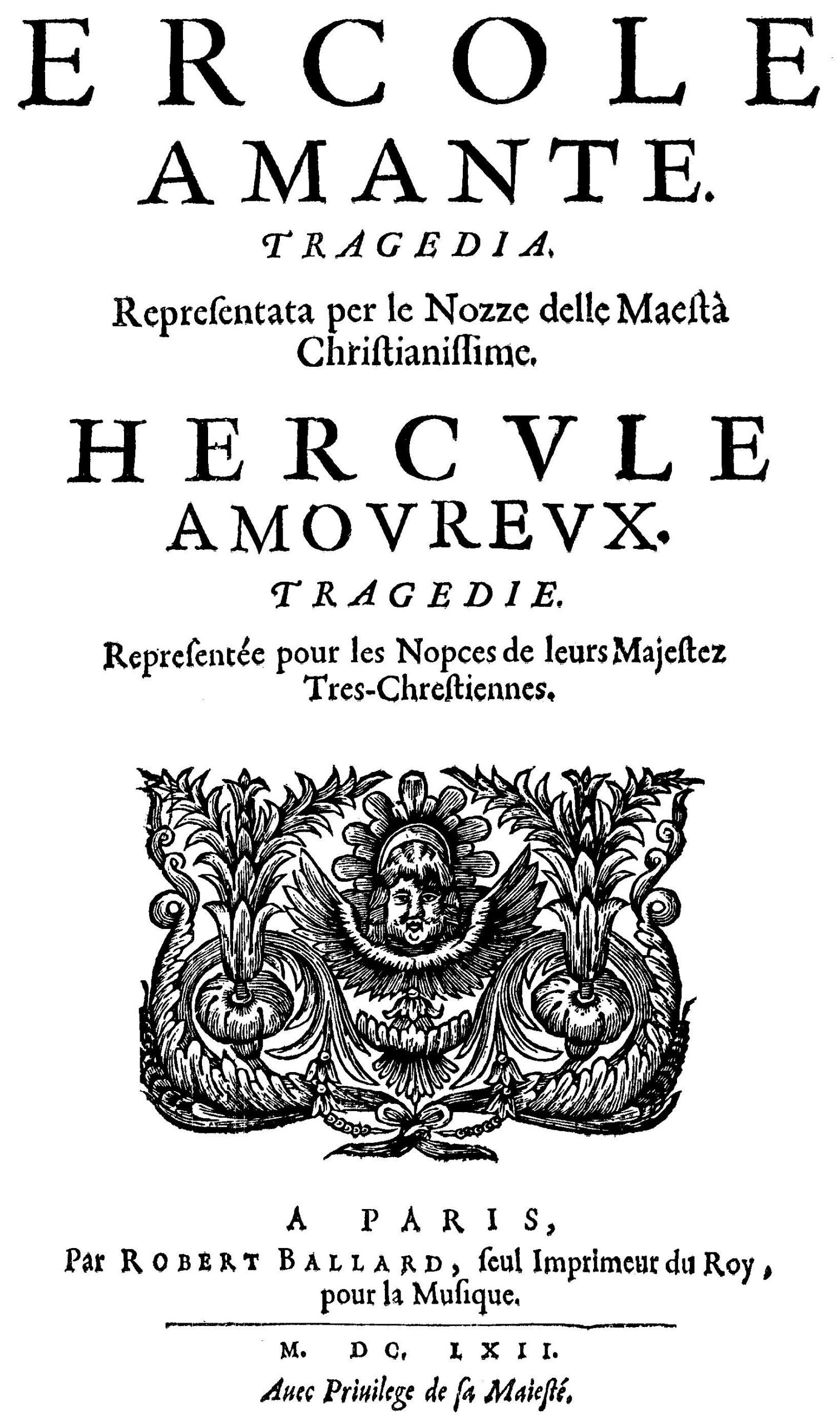 Francesco Cavalli Ercole amante title page of the libretto Paris 1662