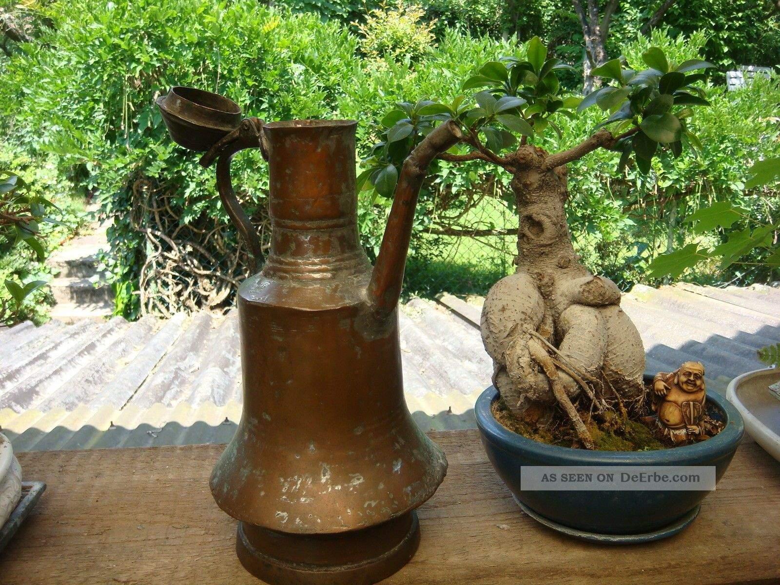alte kupfer giekanne wasserkanne antik garten terrasse deko pflanzen bonsai