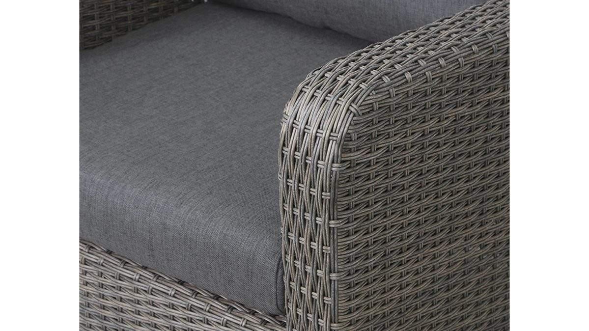Raeume Garten Gartentische Sessel Gautzsch aus Geflecht in Metallfarben siena GARDEN Lounge Sessel Girona bronzefarbenes Geflecht und grau brauner Bezug guenstiger