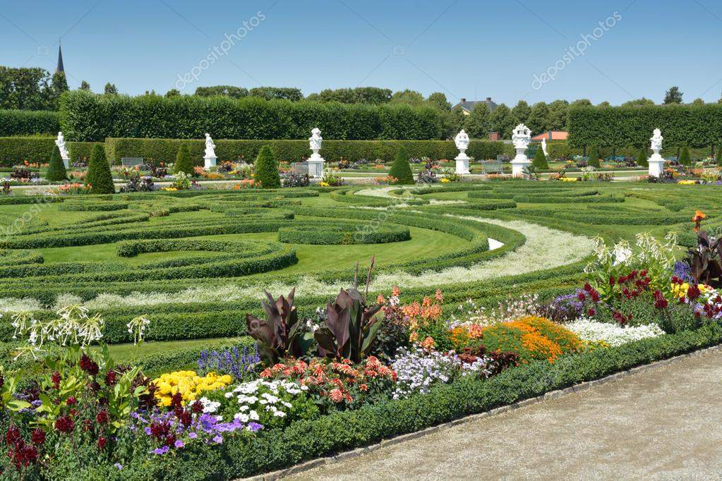 stock photo garden with sculptures in herrenhausen