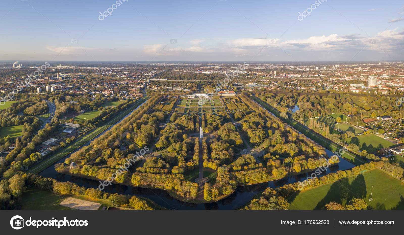 stock photo aerial view of herrenhausen gardens