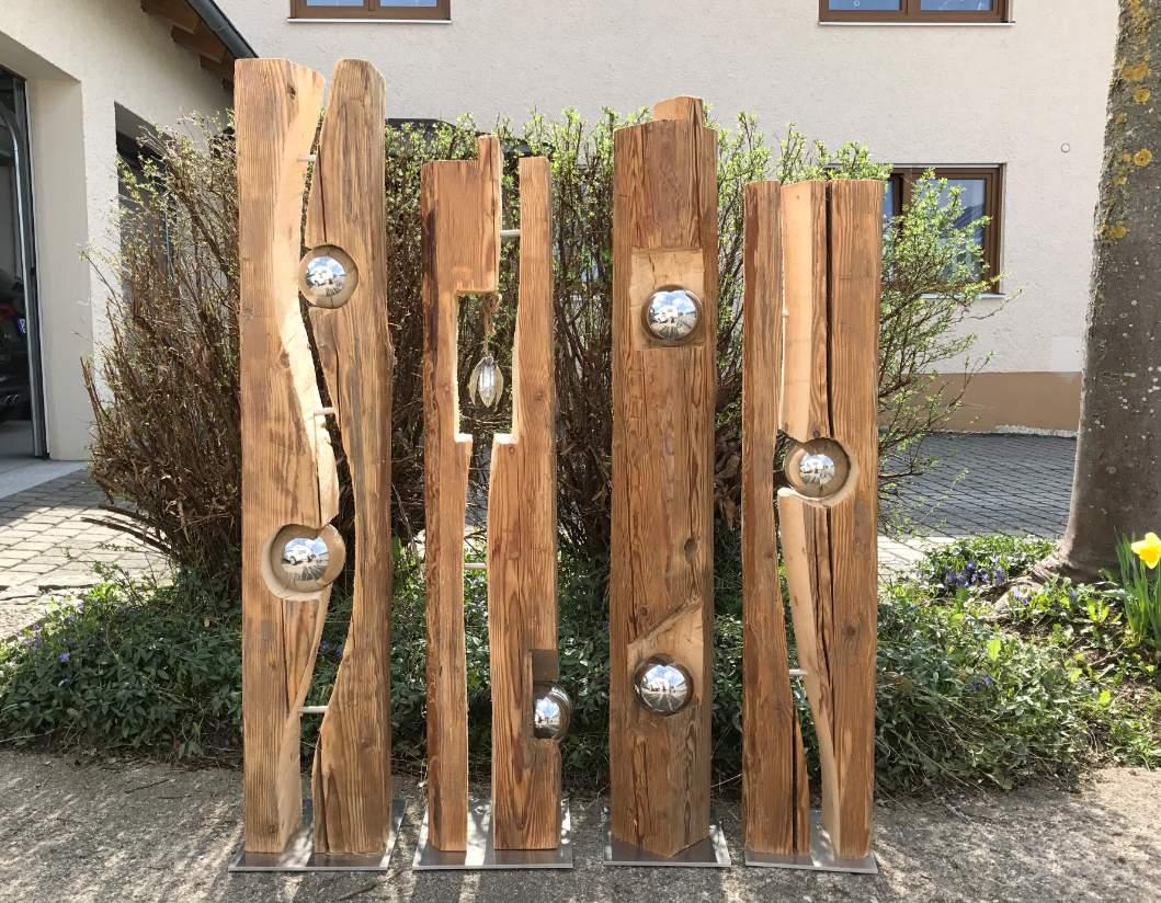 Holzstamm Deko Garten Reizend Altholzbalken Mit Silberkugel Modell 8