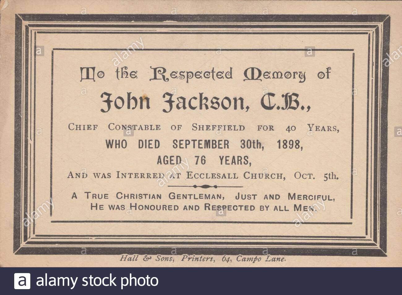 in memoriam karte fur john jackson cb der polizeichef von sheffield fur 40 jahre starb am 30 september 1898 im alter von 76 jahren und wurde beerdigt in ecclesall kirche oct 5 2adyw8c