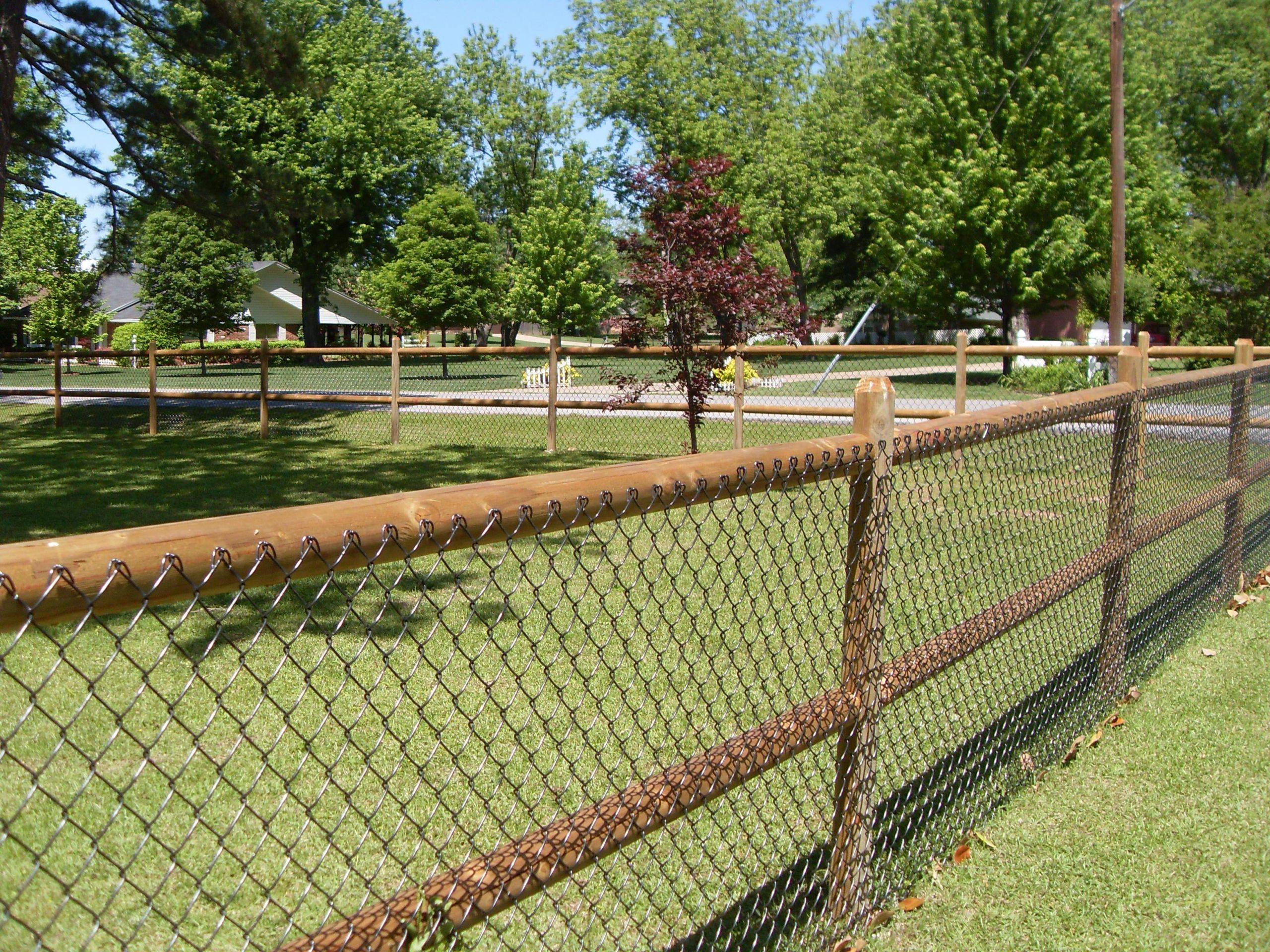Hundezaun Garten Neu 2 Rail Wood Fence with Chain Link