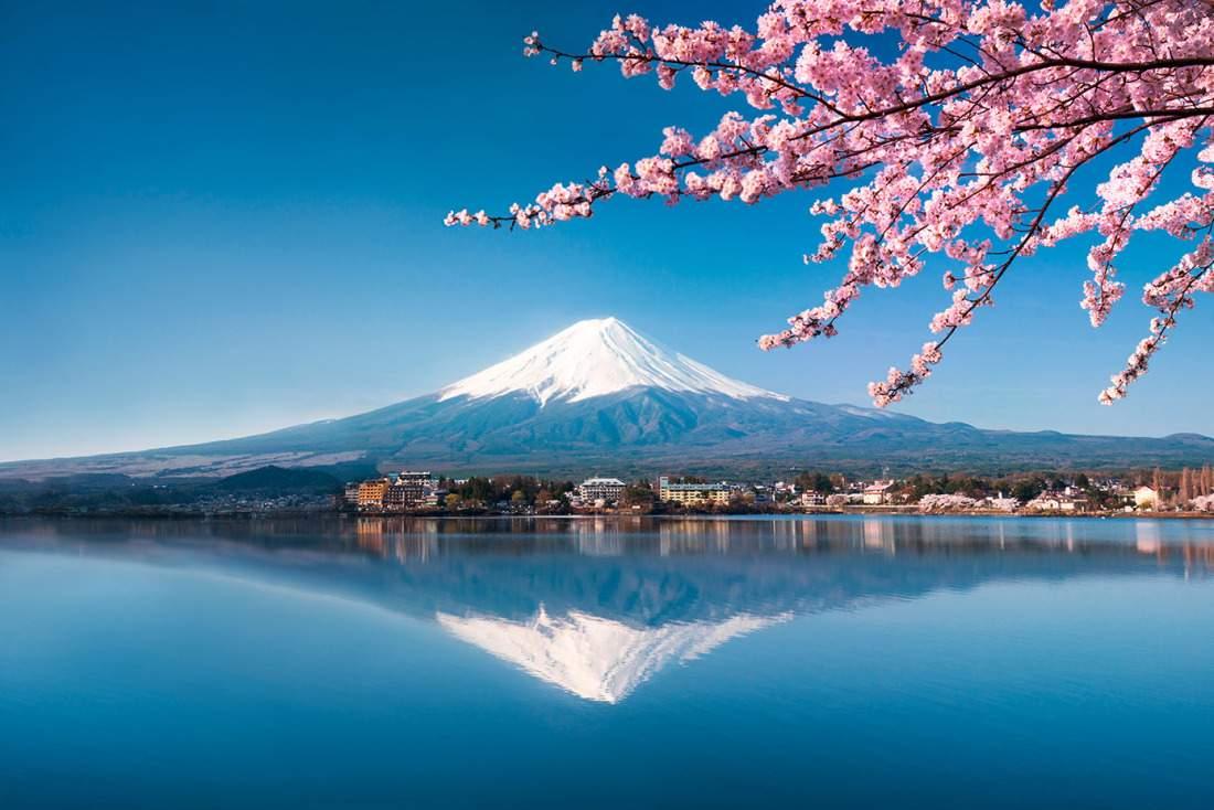 Fototapete Bergsee in Japan Fuji Vulkan