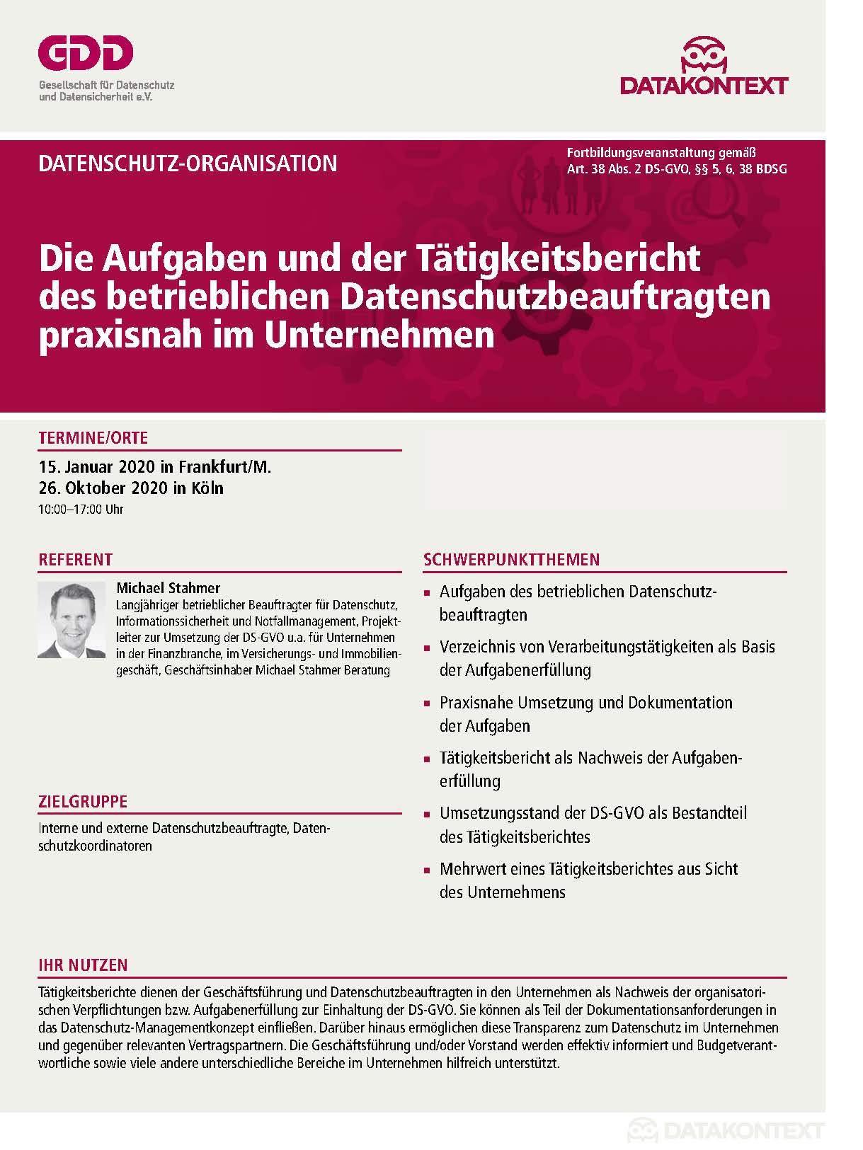 Betrieblicher Datenschutzbeauftragter 2019