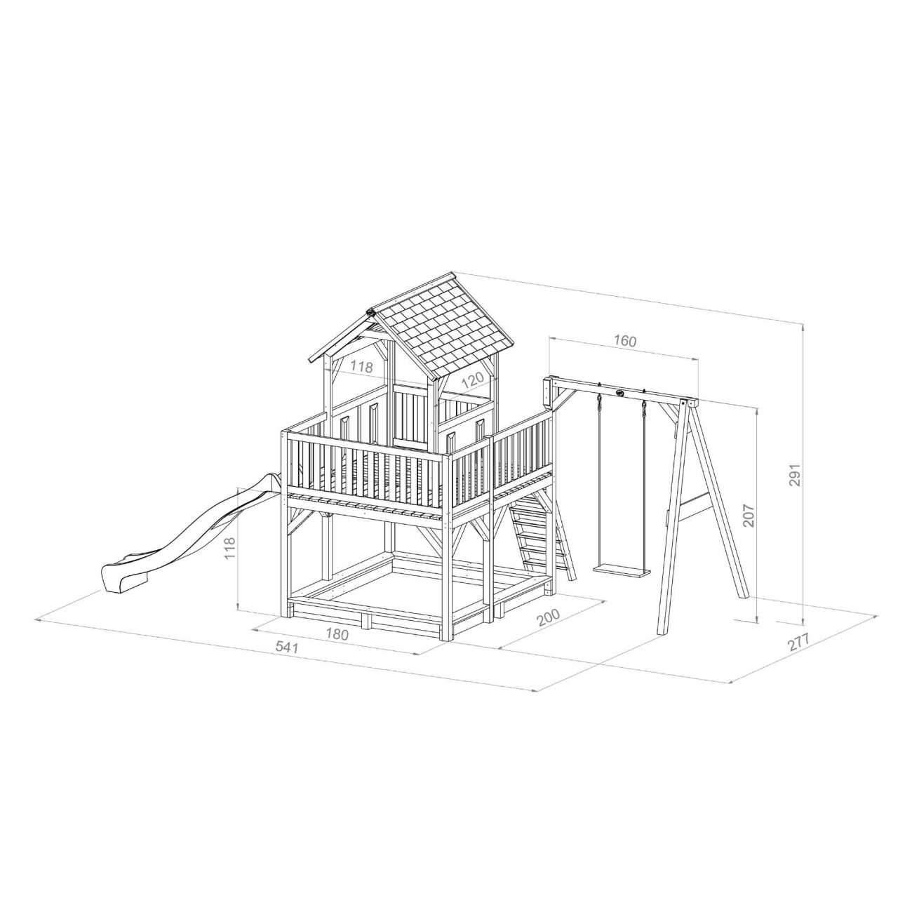 Kinder Holzhaus Garten Reizend Kinder Spielturm Axi atka Rutsche 2 30 M 1 Schaukel