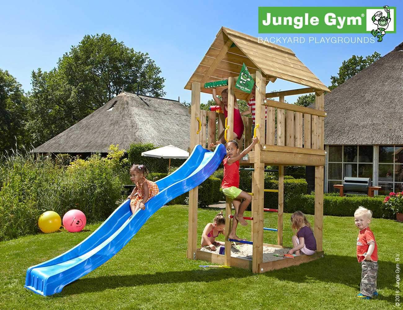climbing frame and slide jungle cabin blue