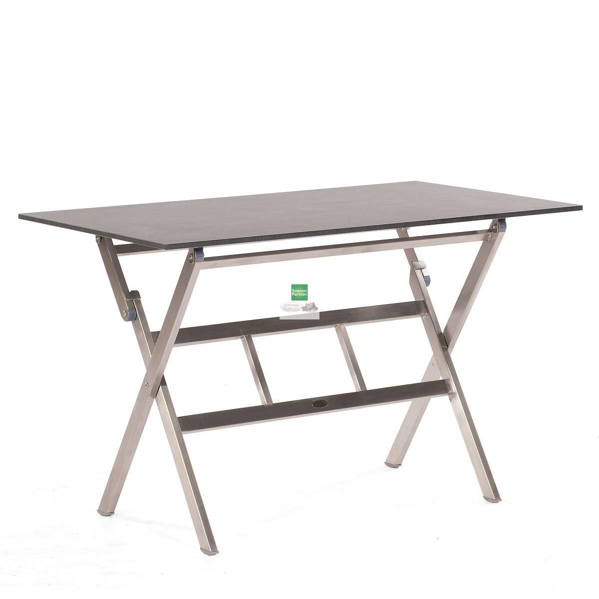Gartenmoebel Sonnenpartner Base Klapptisch Edelstahl 120 x70 mit Tischplatte pact 1
