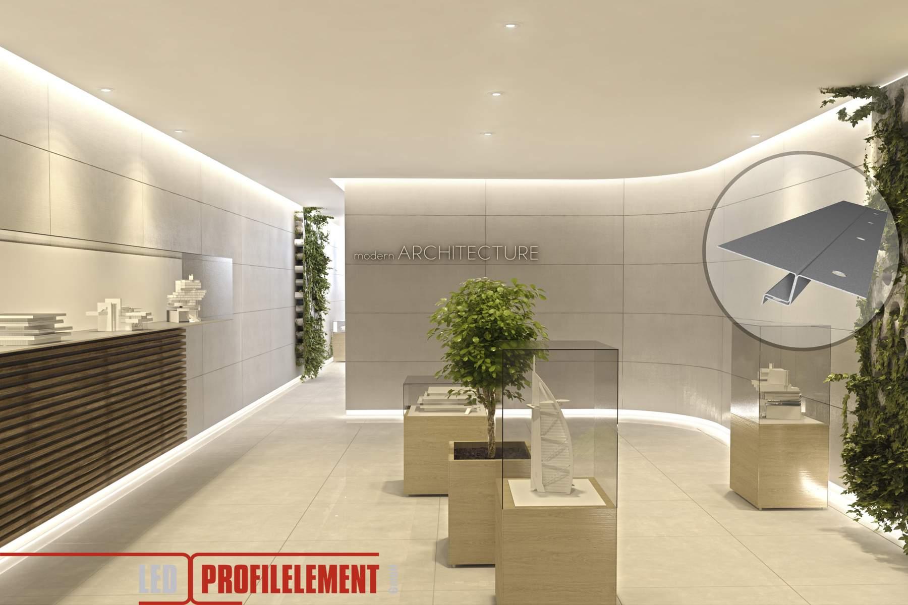 LED Putzprofil mit Sichtschenkel für direkten Anschluss an Bauteile