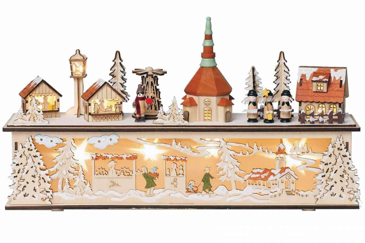seiffener weihnachtsmarkt mit led beleuchtung 45x10x25 cm erzgebirge