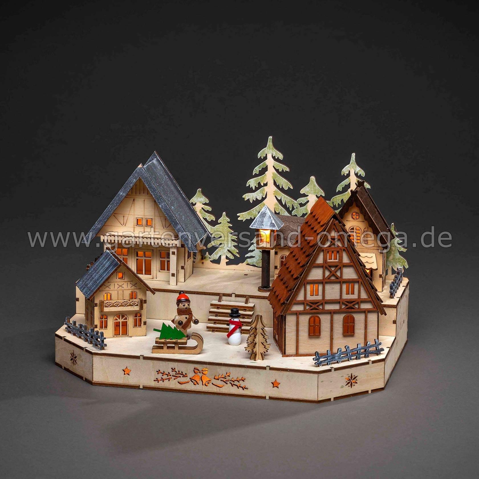 Batteriebetriebener LED Holzleuchter Weihnachtsdorf 3235 100