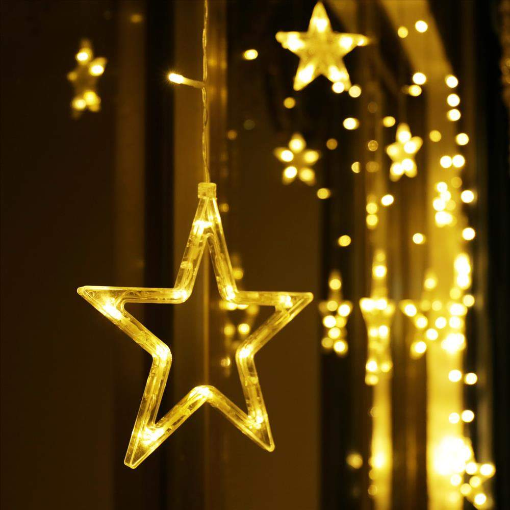 12 stern lichterkette vorhang warmweiss mit fernbe nung 6 jmlVJiVeAHr53