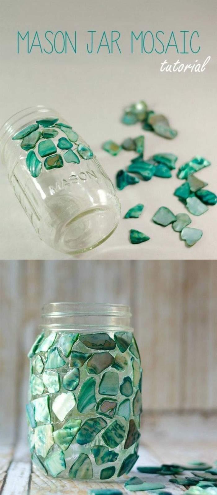 basteln mit teelichter einmachglas gr C3 BCne strassteinschen diy deko