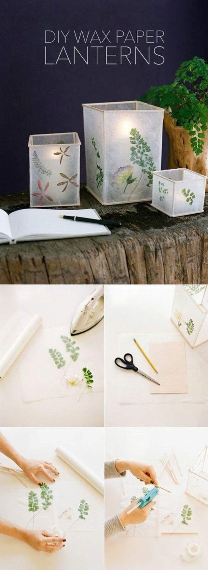 bastelanleitung laterne wachspapier diy gr C3 BCne bl C3 A4tter schere bleistift papier