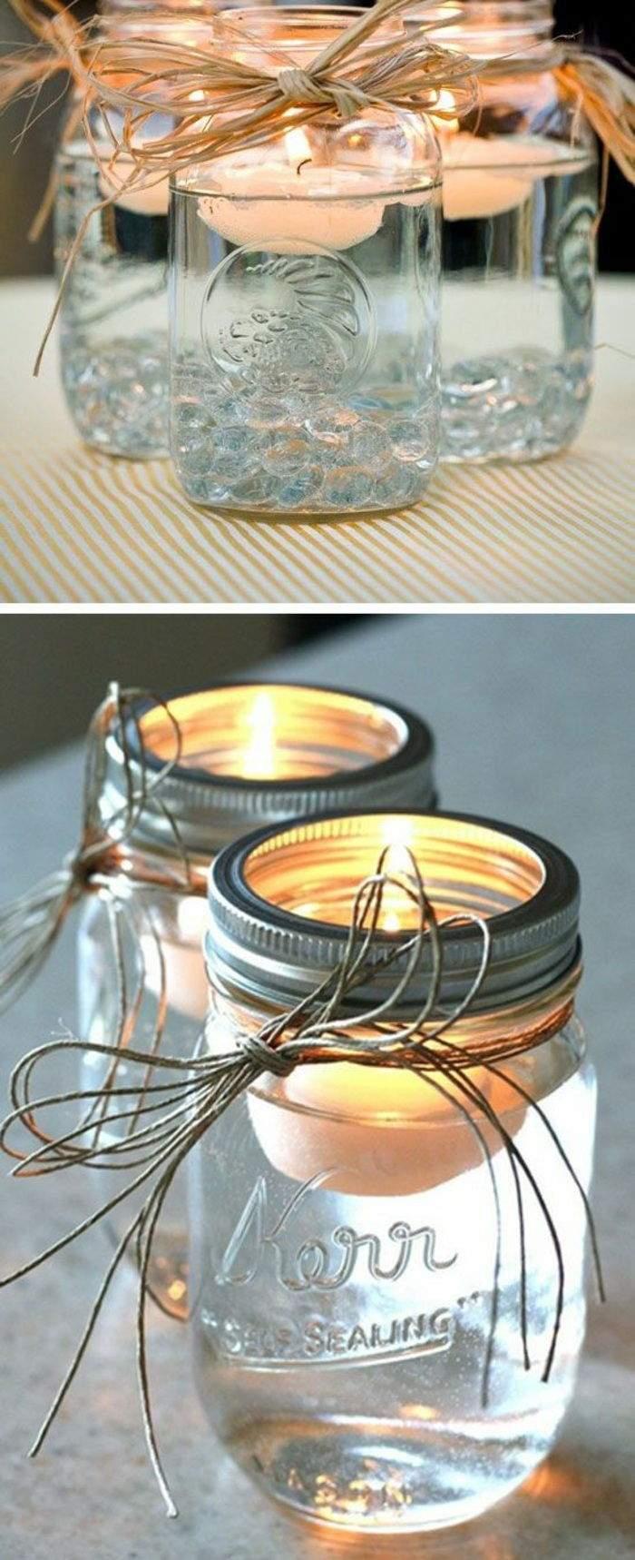 basteln mit teelichter einmachgl C3 A4ser leinenschnur faden schleife weiße kerzen schwimmkerzen