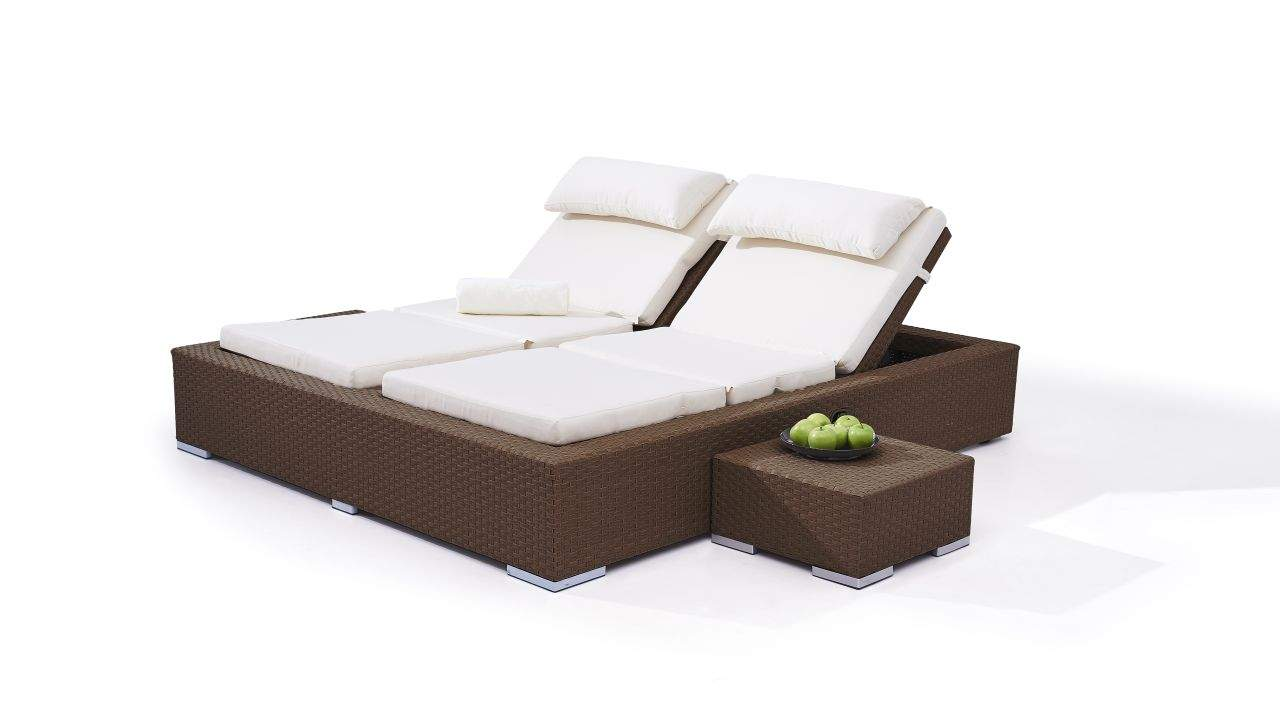 Polyrattan Doppelliege Big Smoop nussbraun 01