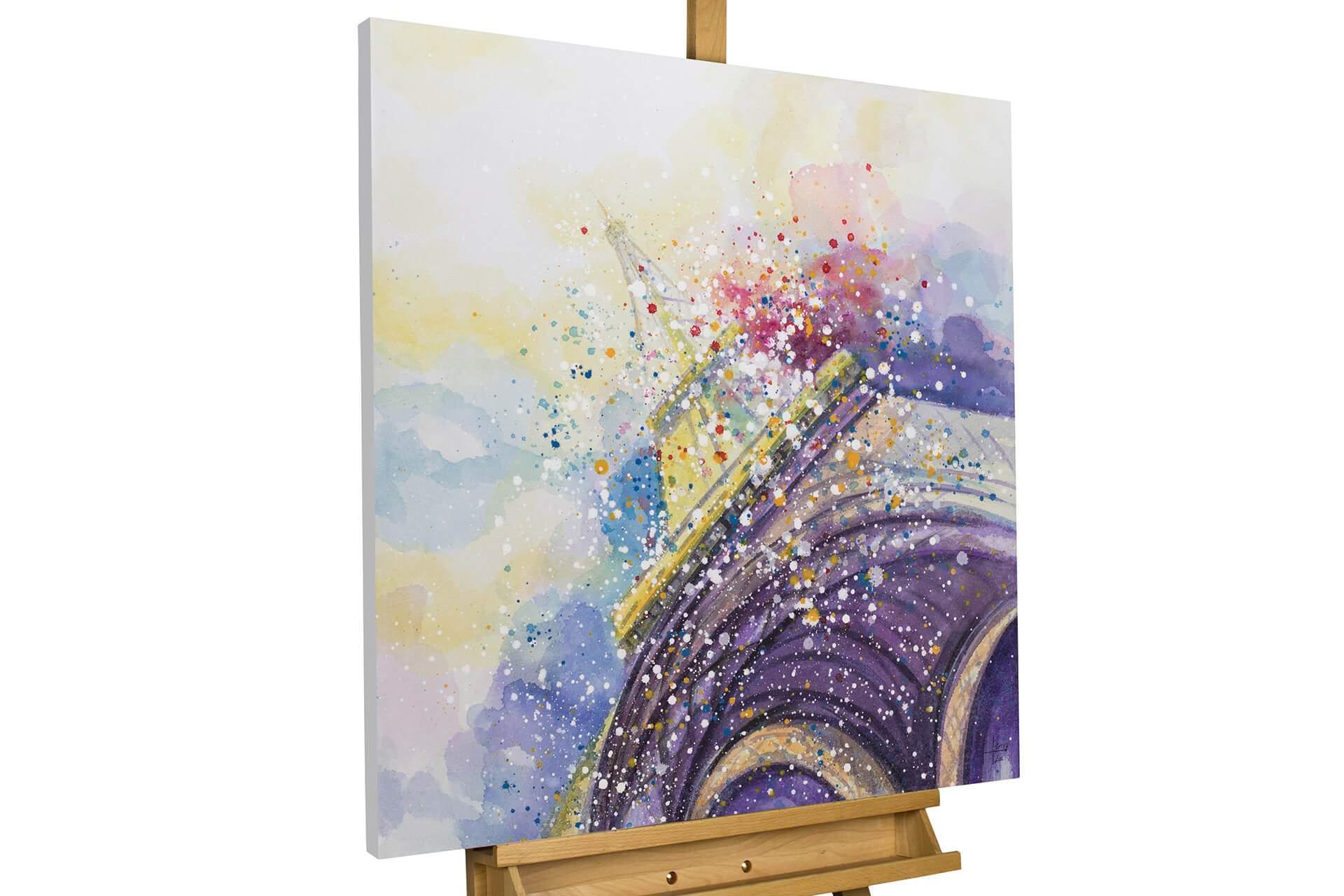 kl eiffelturm abstrakt lila paris modern acryl gemaelde oel bild 02