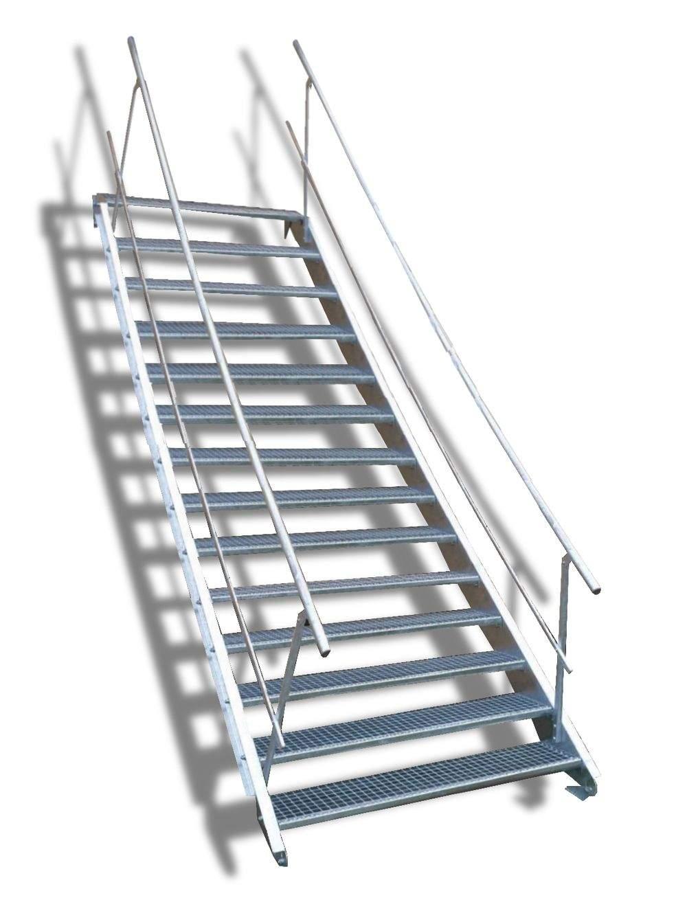 3 Stahltreppe Wangentreppe 14 Stufen Gelaender beidseitig5a4e