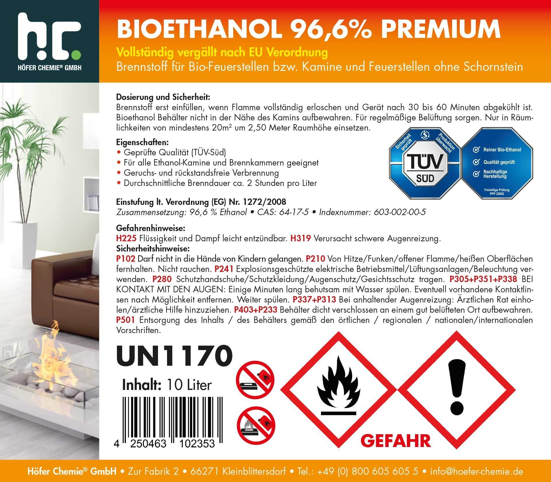 10l etikett bioethanol 96