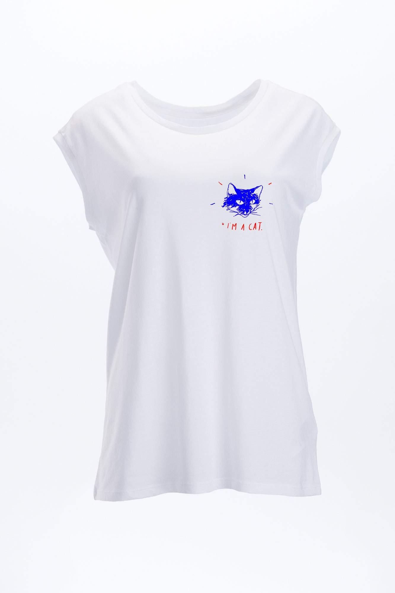 W EP43 T Shirt Tencel Kurzarm T Shirt Oeko Frauen White I Am A Cat