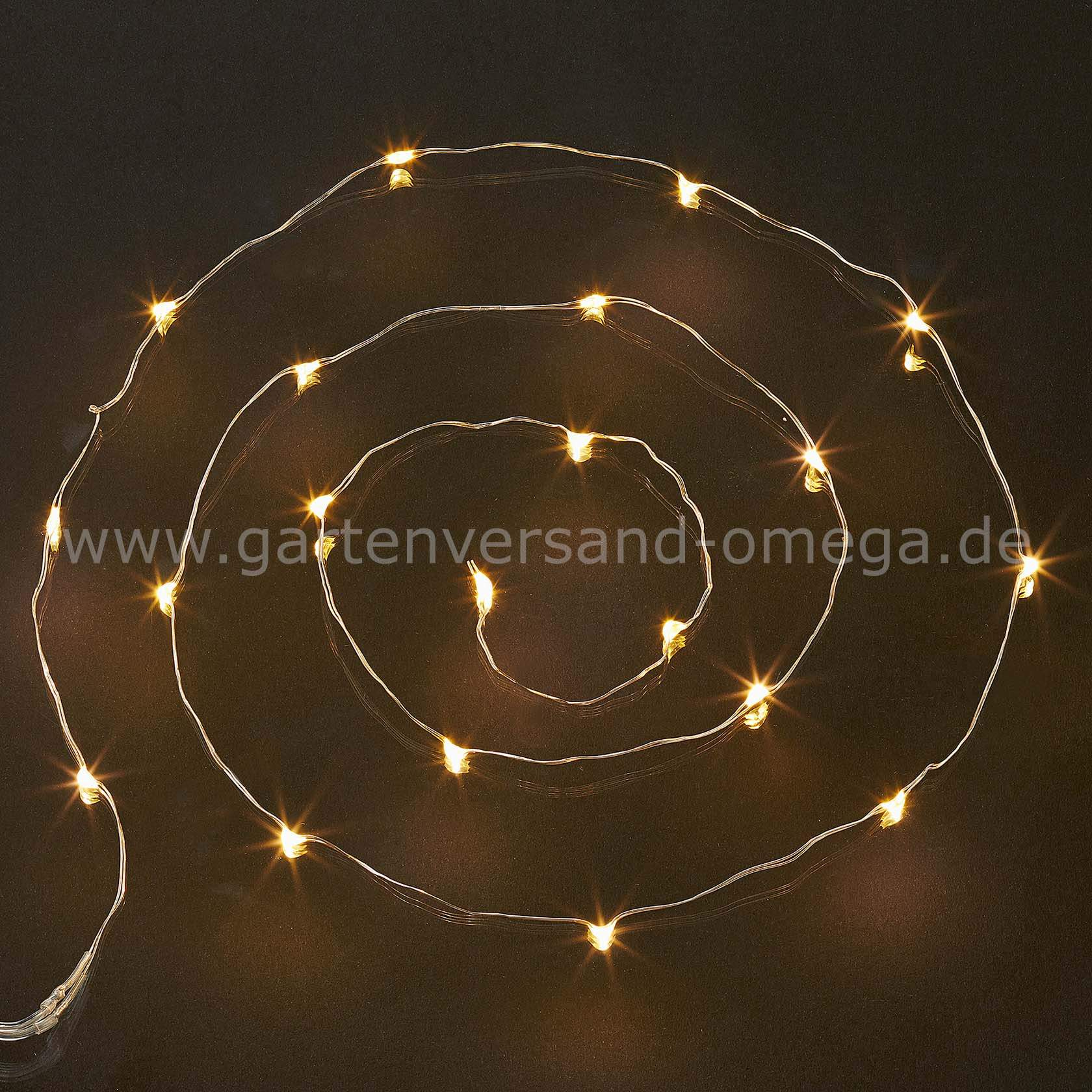 Batteriebetriebene LED Lichterkette mit Drahtkabel WarmWeiss