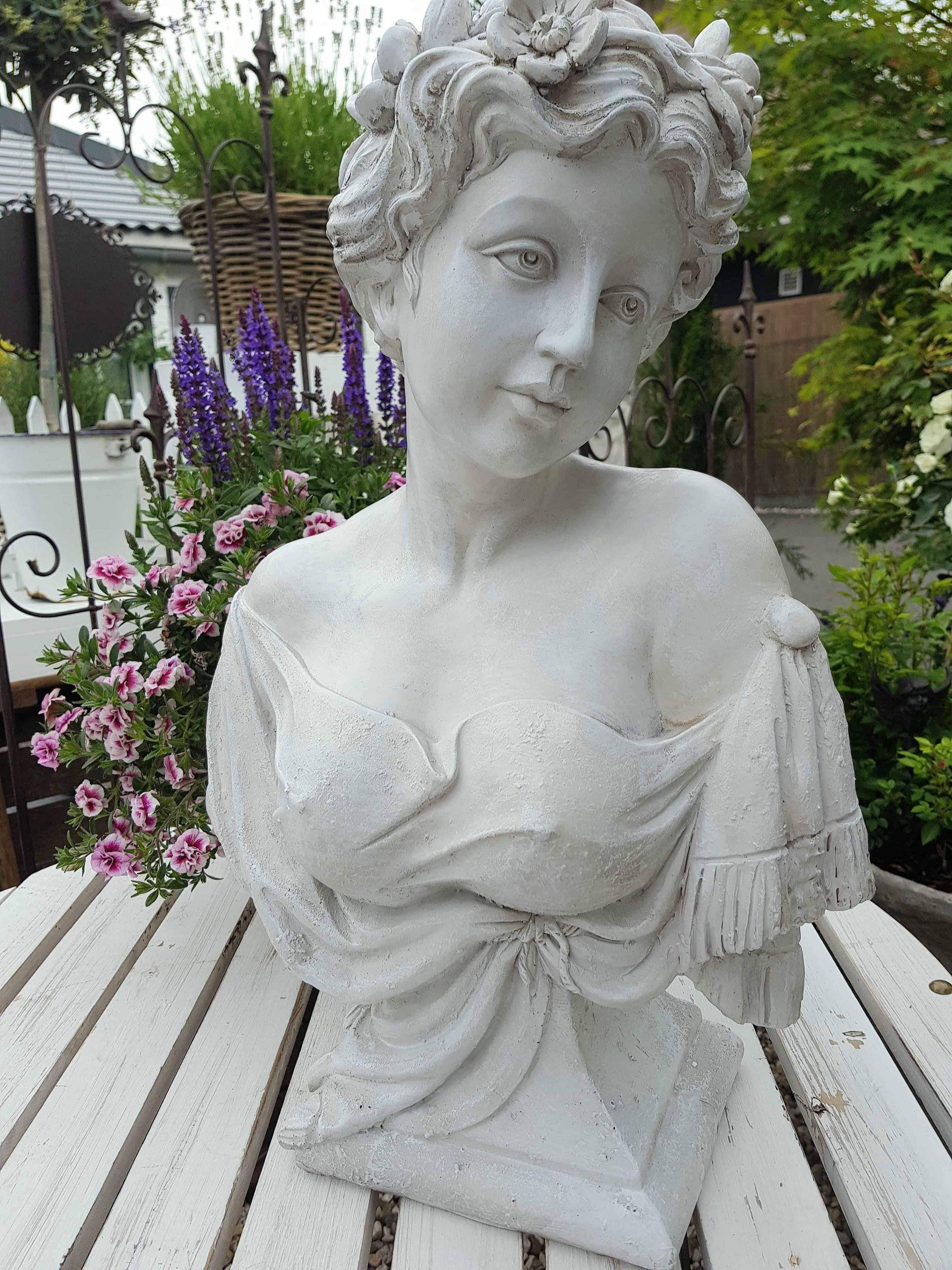 shabby chic gartendeko mit buste statur skulptur weis frauenkopf shabby vintage landhaus garten deko mary 41 und mit shabby chic gartendeko