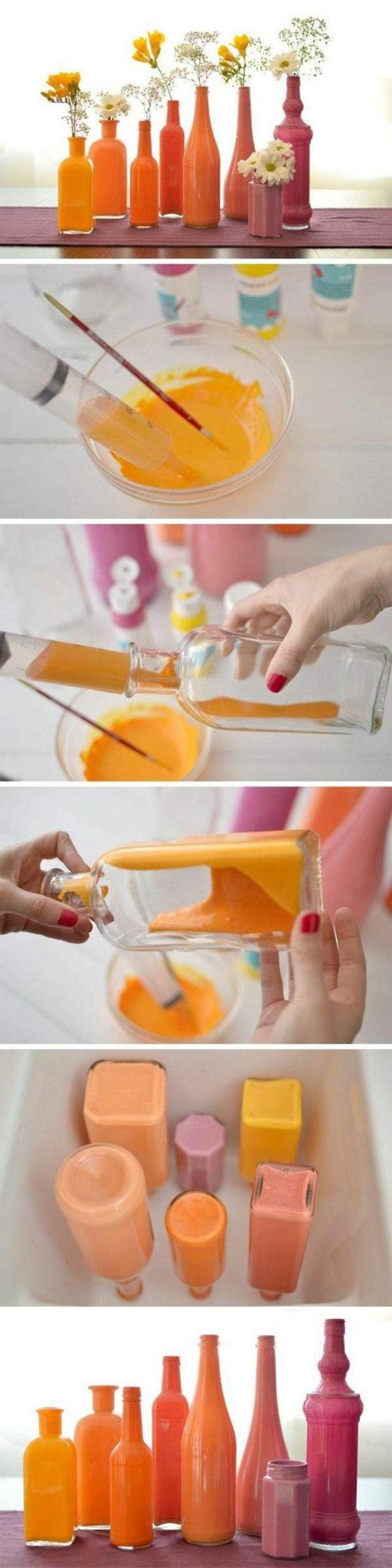 dekoideen diy alte gegenst C3 A4nde glasflaschen glasbeh C3 A4lter orange rosa gelb vasen selber machen