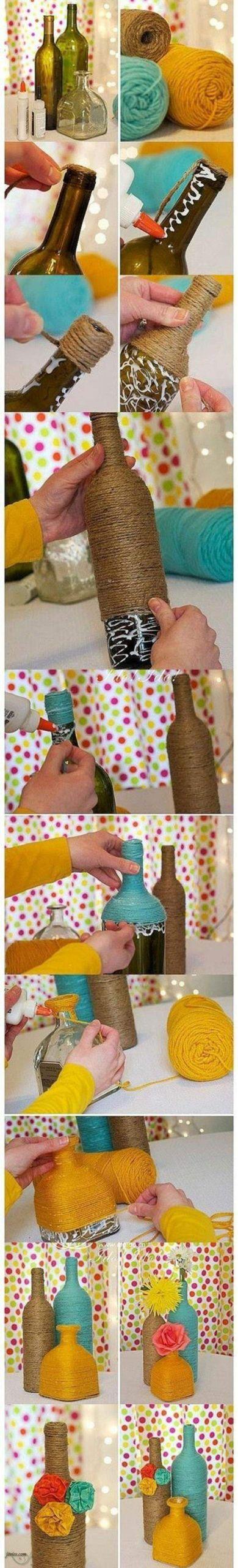 dekoideen diy alte gegenst C3 A4nde vasen selber basteln glasflaschen jute