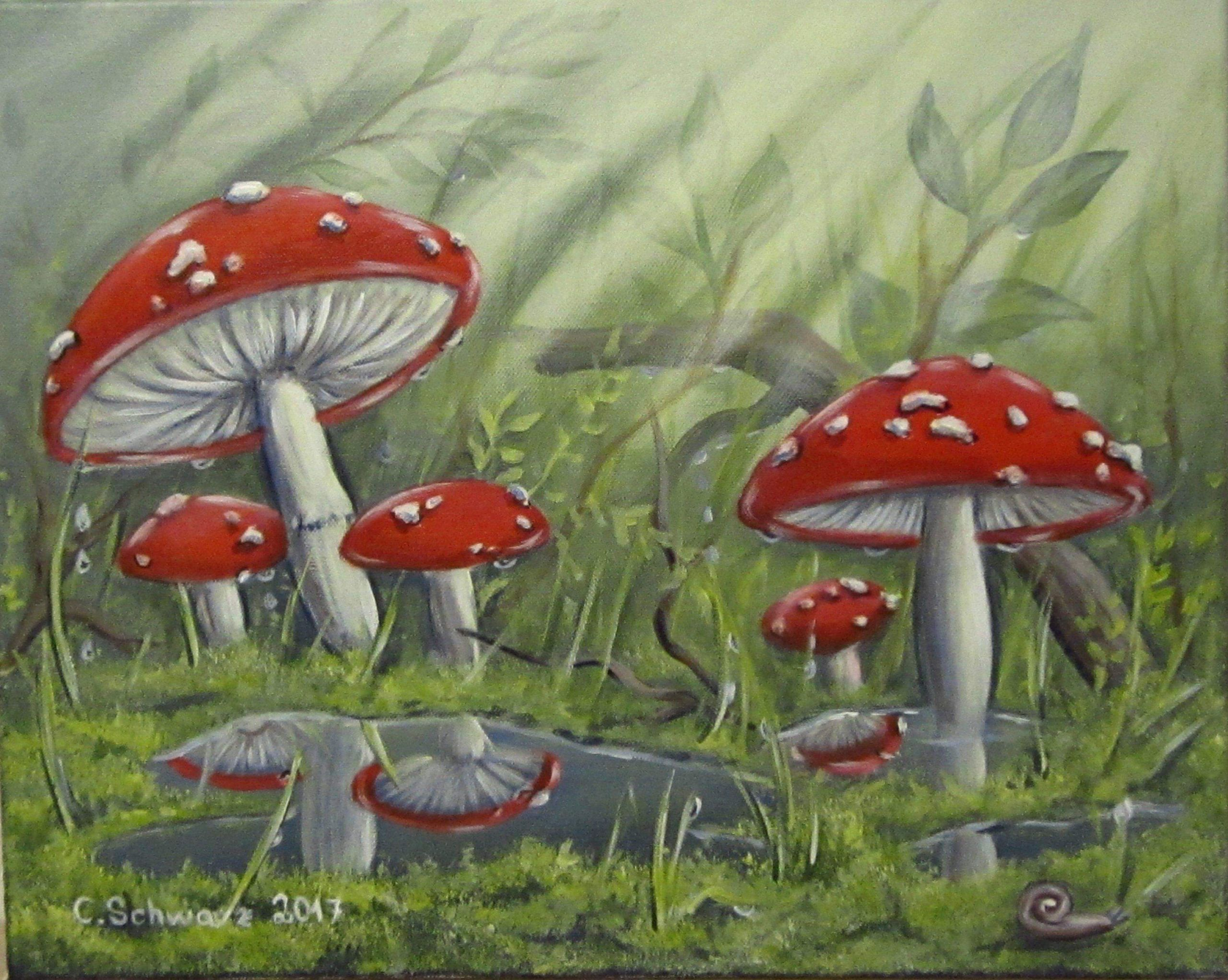 "Pilze Im Garten Bilder Genial Acrylgemälde ""fliegenpilze Nach Dem Regen"" Kunst Wandbild"
