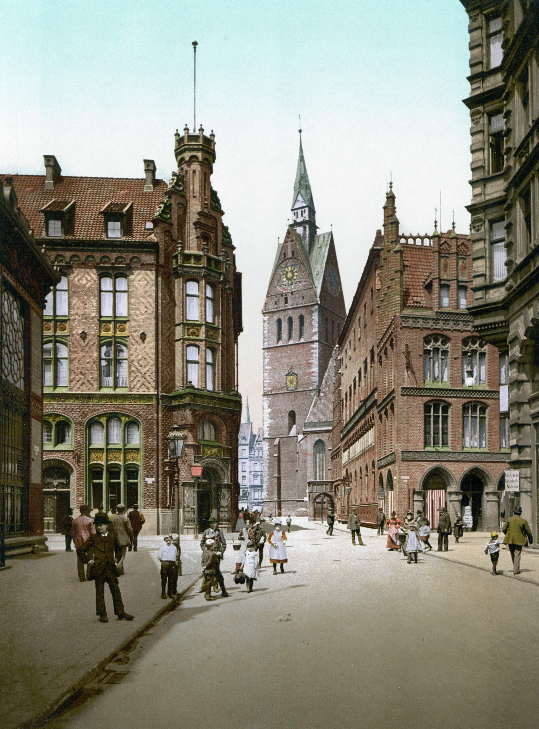 Hannover Marktkirche mit Rathaus um 1895