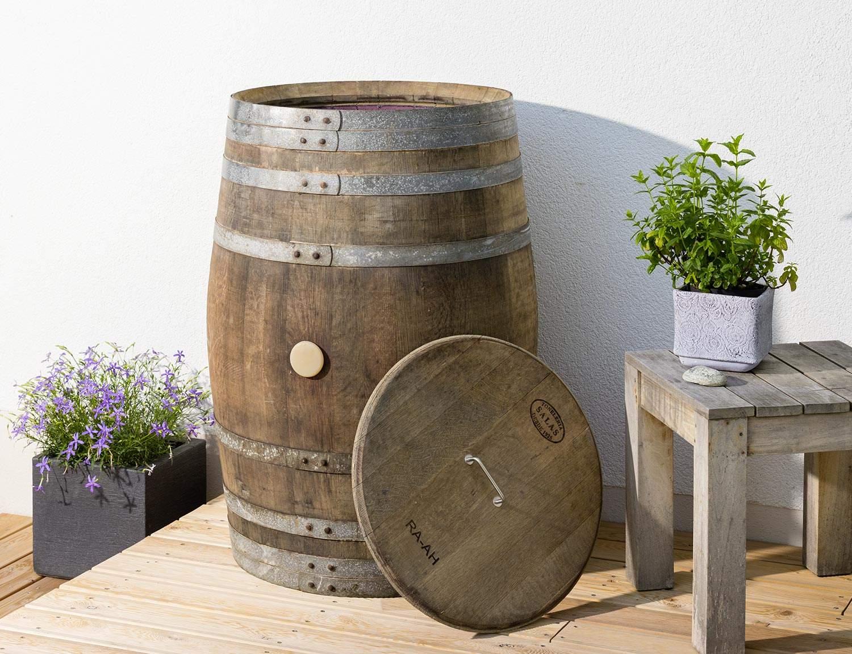Regentonne mit Deckel Edelstahlgriff Terrasse