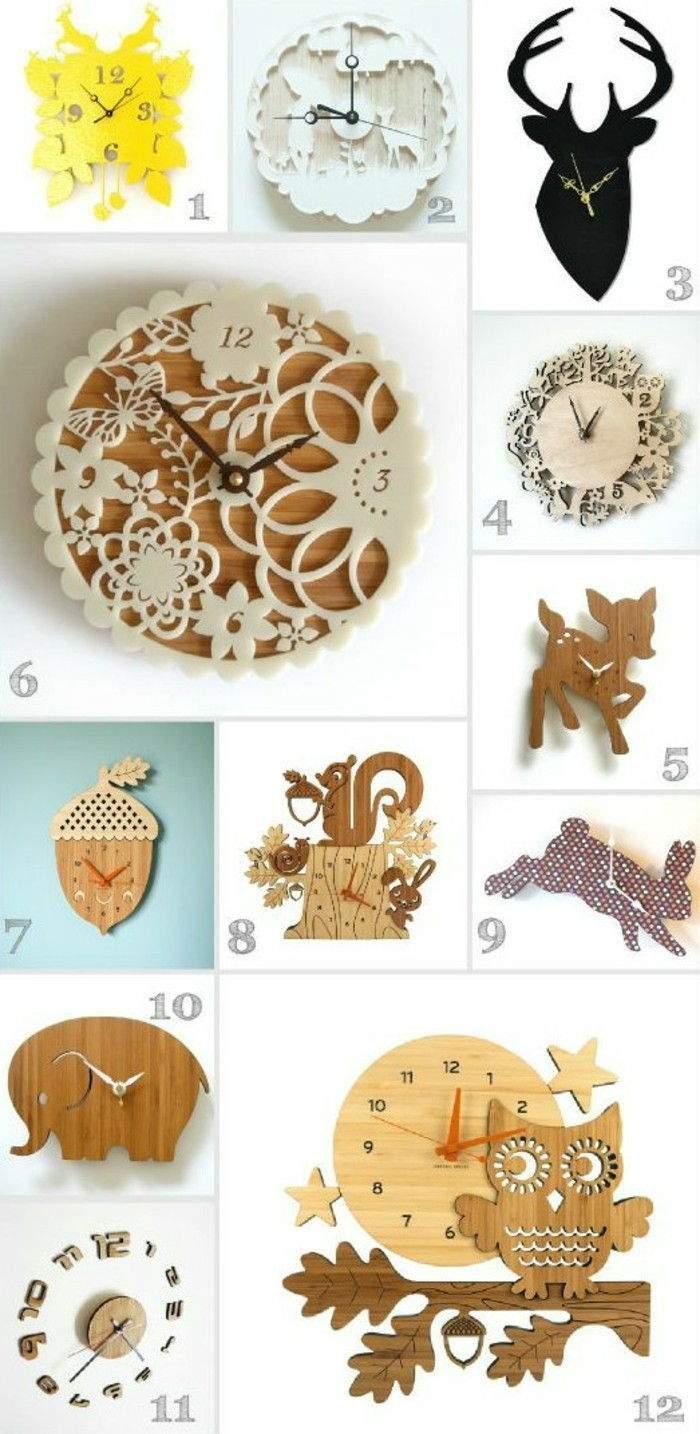 moderne wanduhren designs fotocollage wanduhr holz tiere tiermotive naturmotive 2
