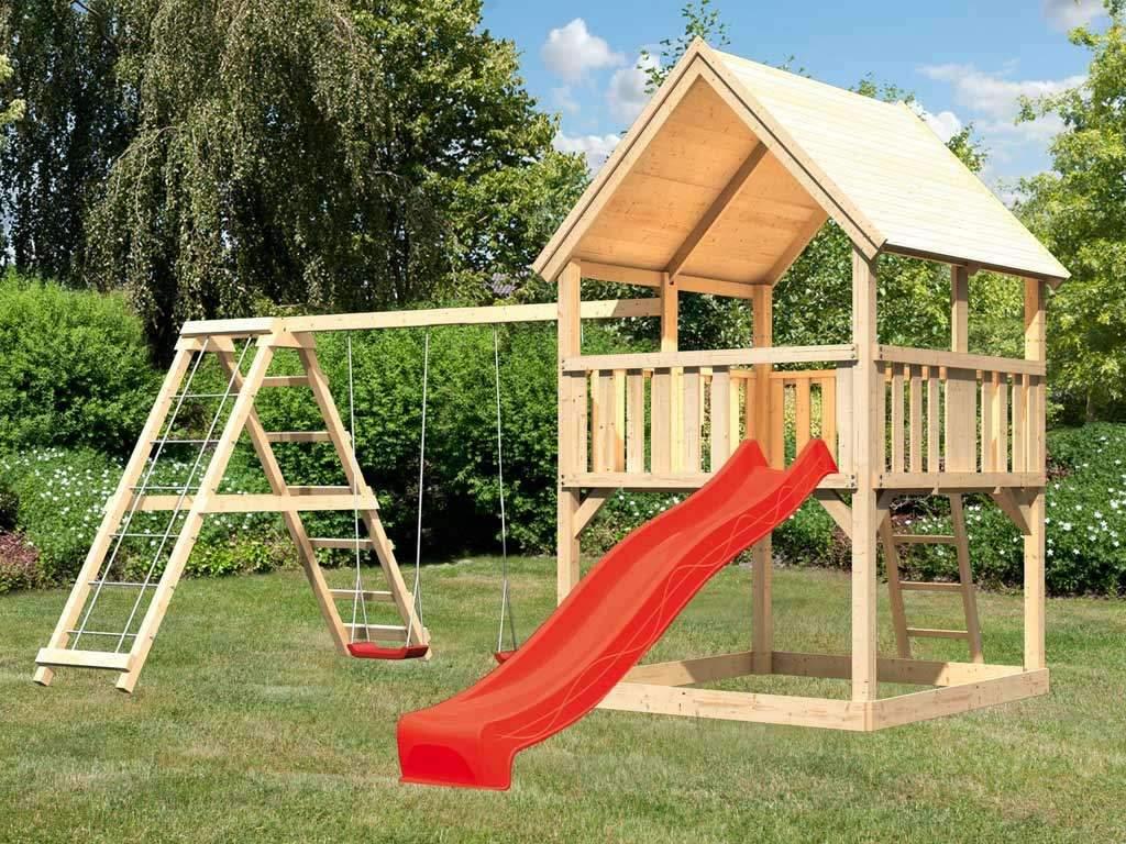 """Rutsche Garten Inspirierend Spielturm Set """"luis"""" Naturbelassen Inkl Rutsche Rot Schaukel Und Klettergerüst"""