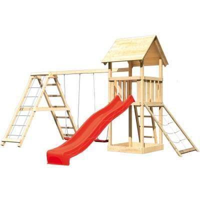 Akubi Spielturm Lotti mit Doppelschaukel Klettergeruest und Rutsche Rot von Akubi