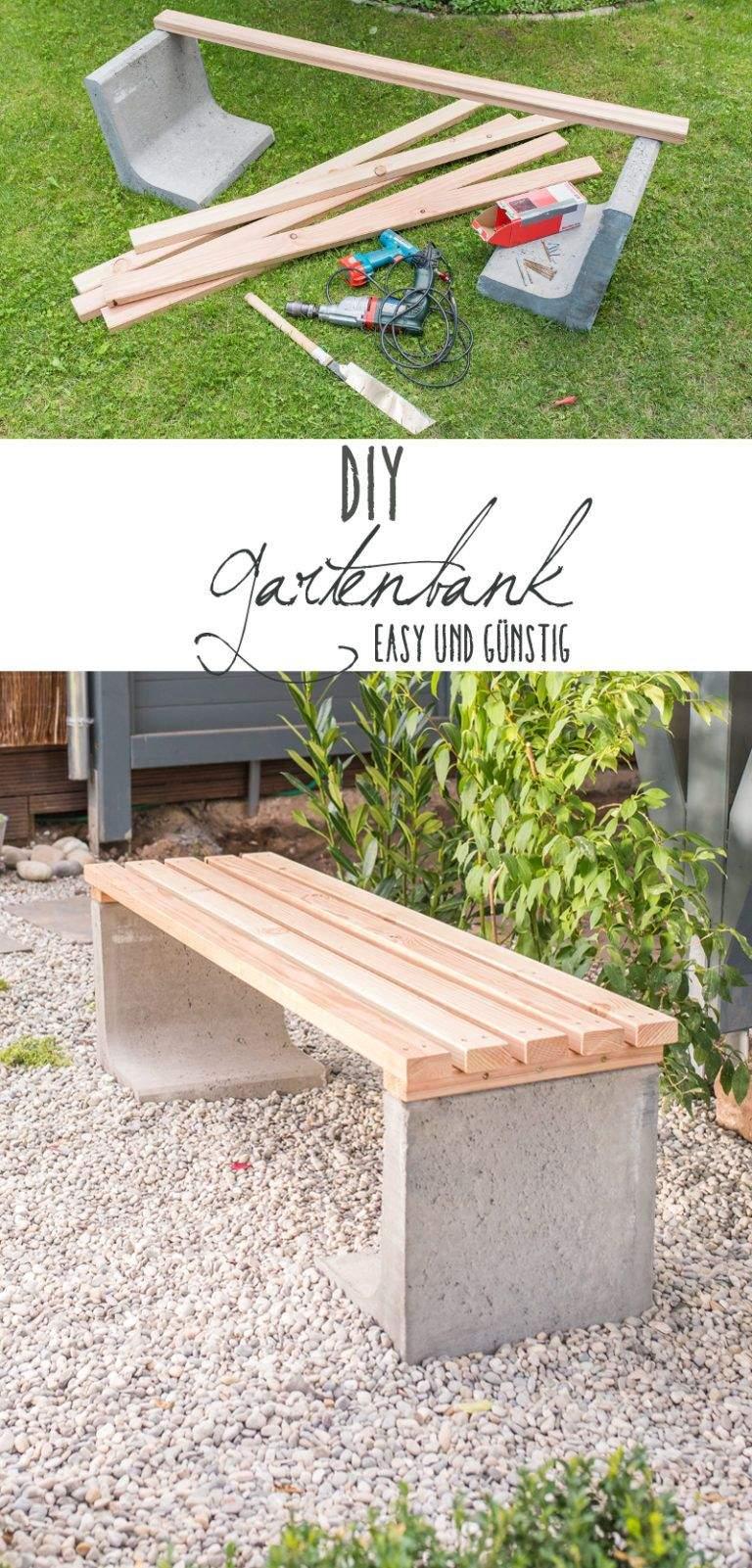 Sitzbank Holz Garten Reizend Diy Gartenbank Mit Beton Und Holz