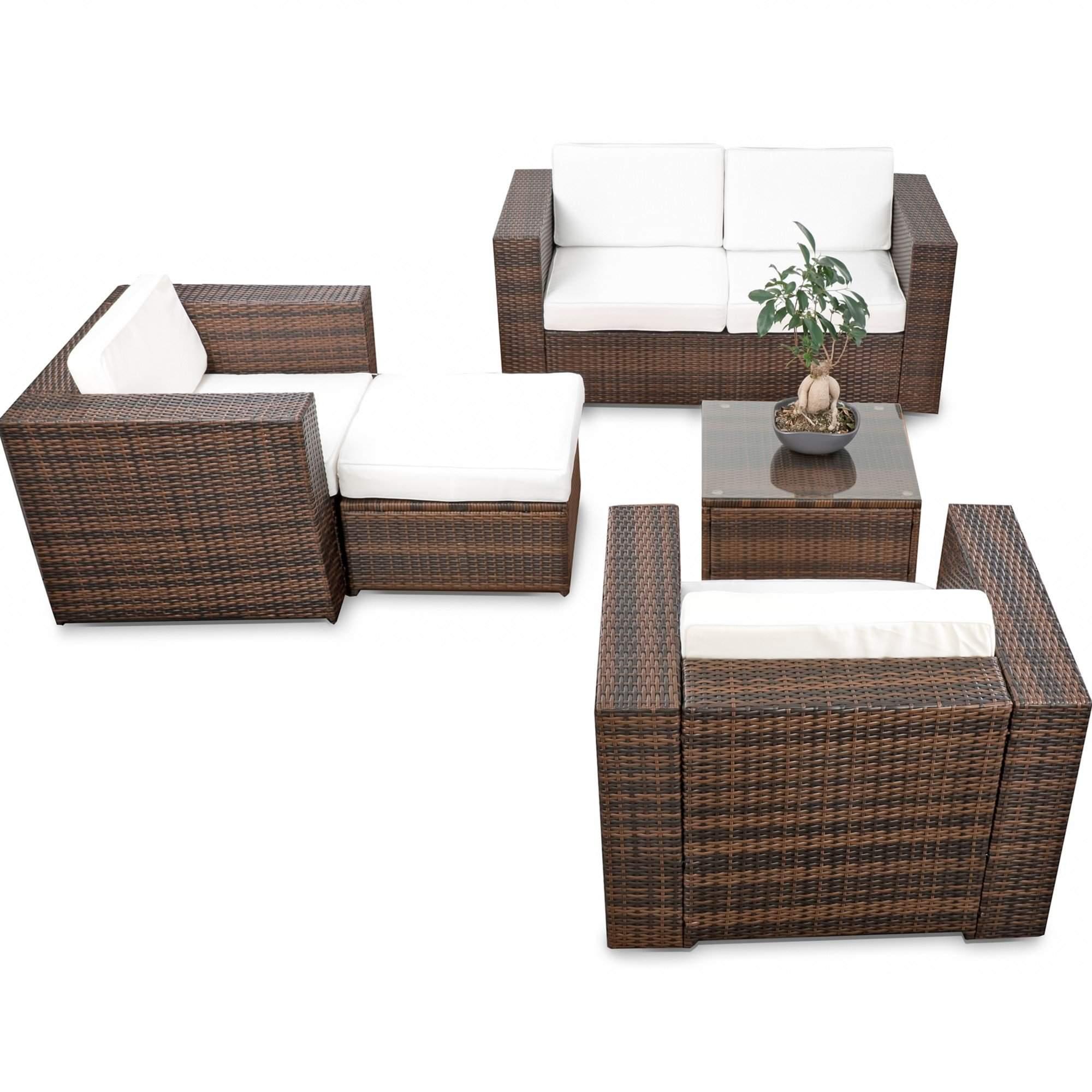 balkon loungemoebel xl 15 tlg polyrattan braun