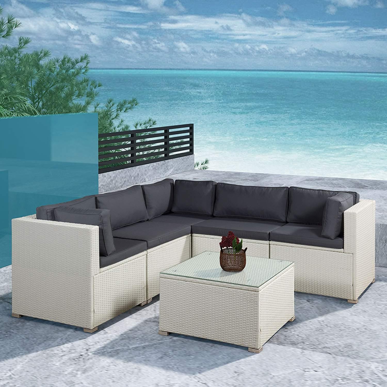 a1 polyrattan gartenmoebel sitzgruppe in weiss mit bezuegen in dunkelgrau lounge set winter wetter fest terasse