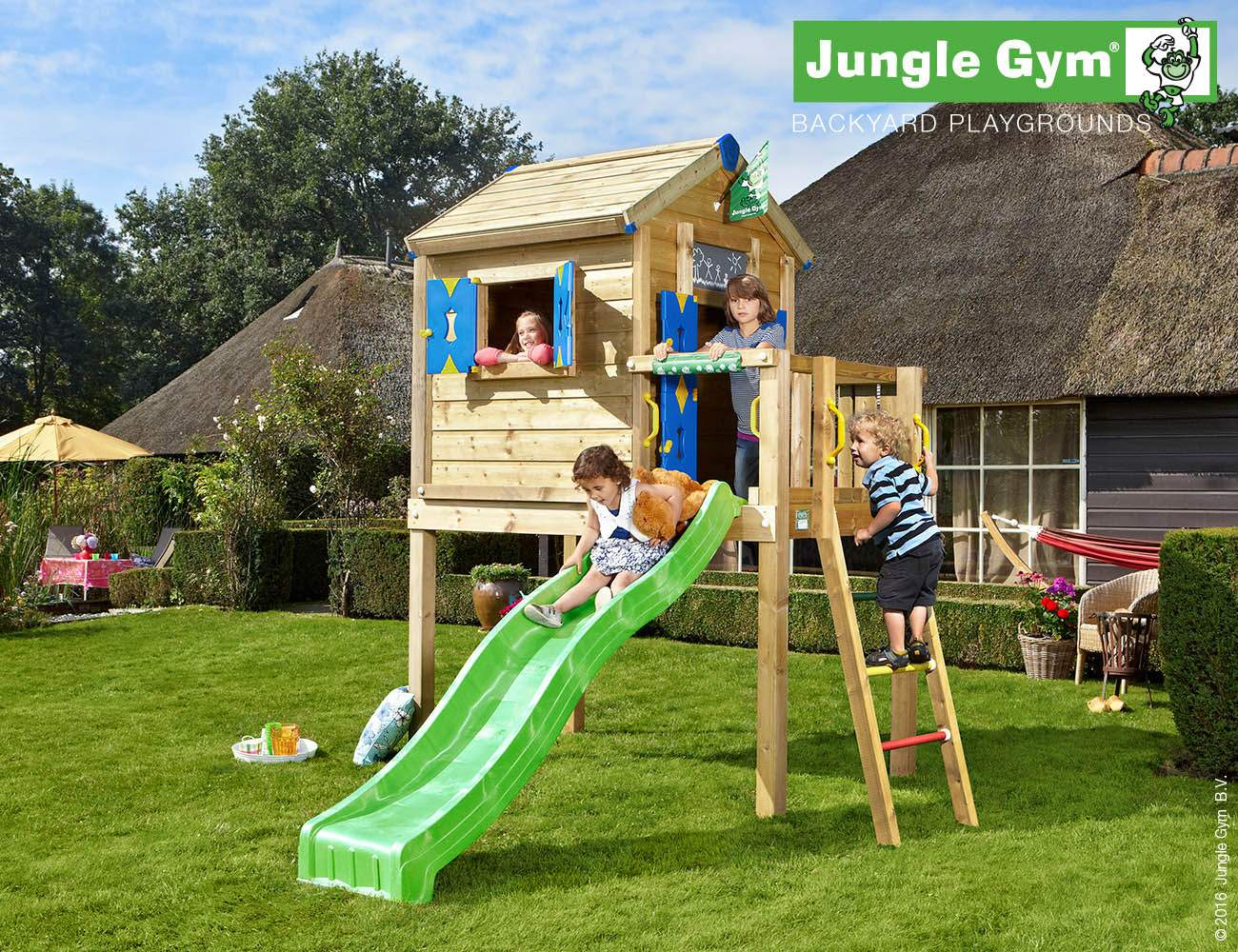 wooden playhouse with slide jungle playhouse l green
