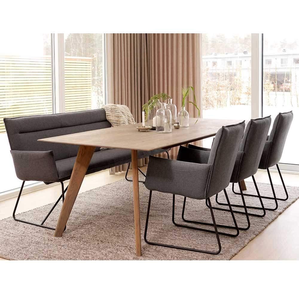 modernes esszimmer sofa in grau filz schwarz stahl 185x88x66 len 05