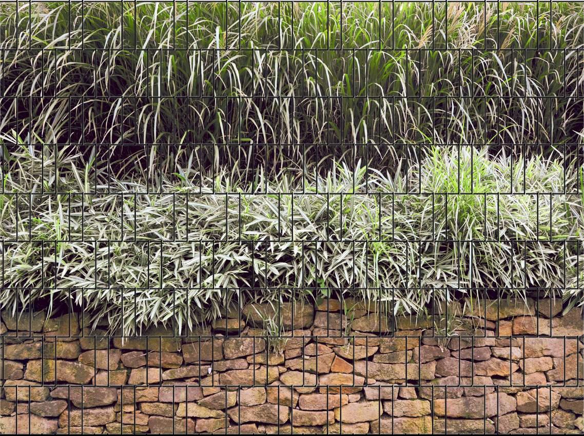 Steinmauer Bedruckter Zaun Sichtschutz Streifen 2