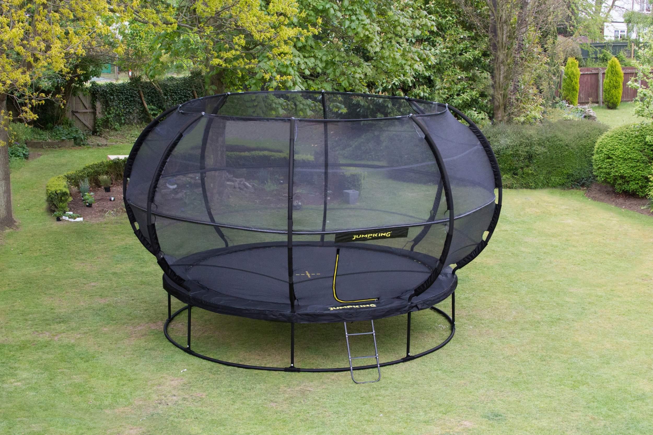 jumpking trampoline met net en ladder zorbpod 366 cm blauw 2