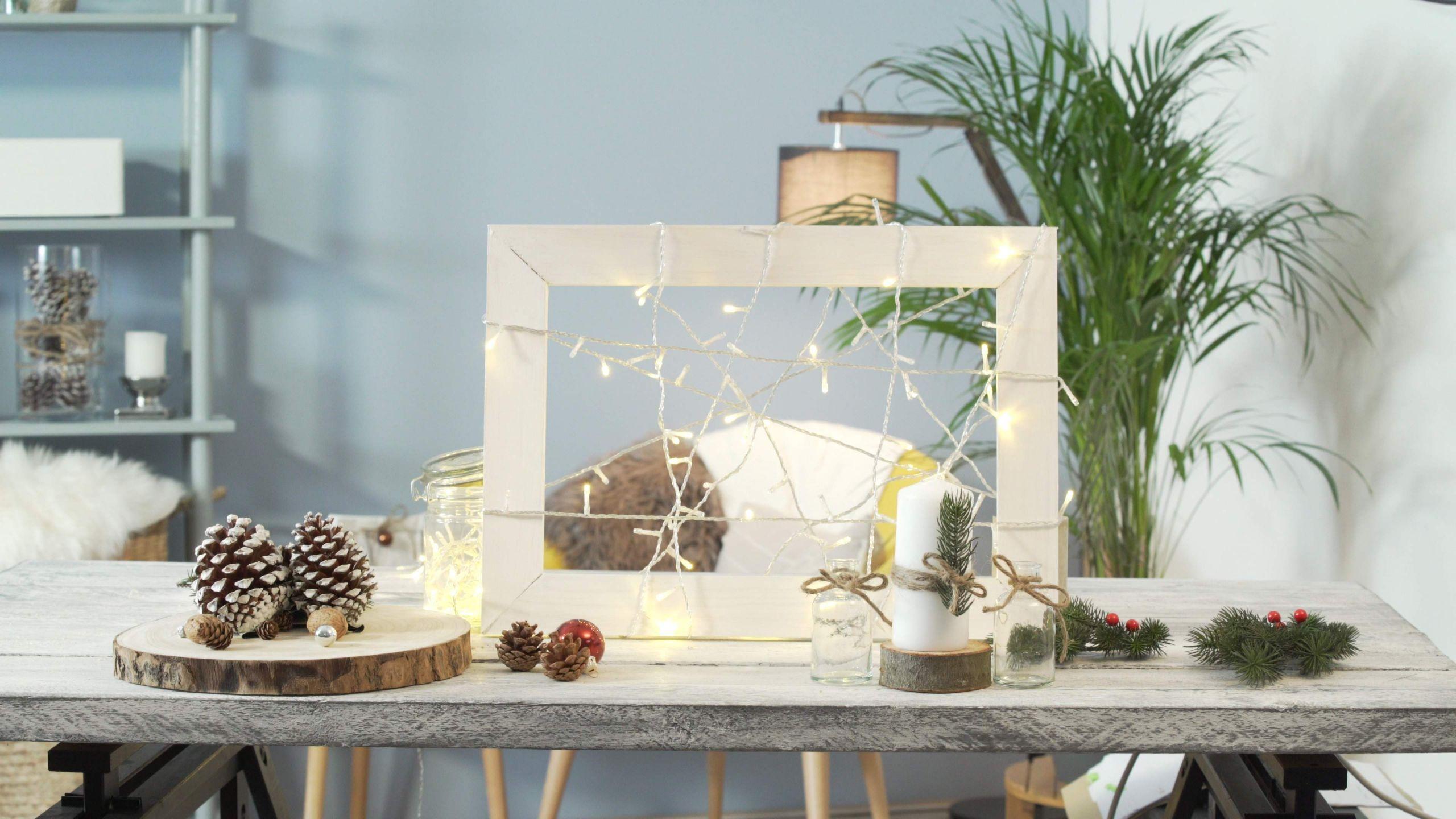 lichterrahmen selbermachen weihnachtsdeko lichterkette