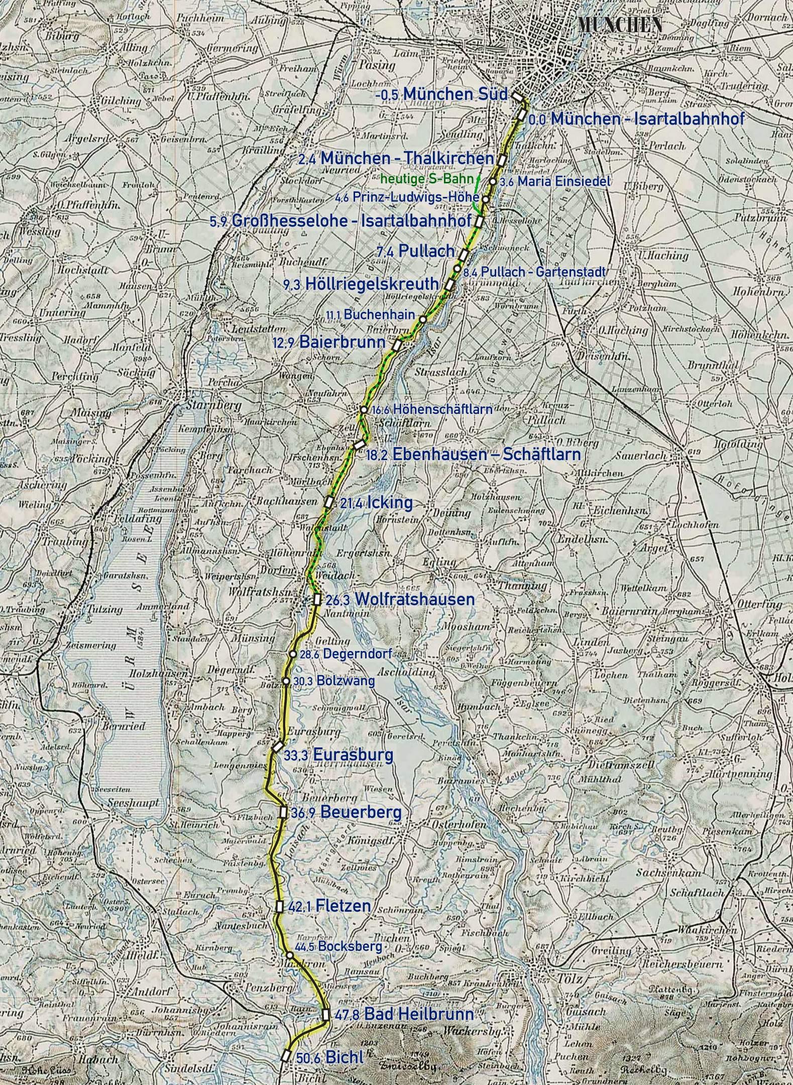 Bahnkarte Isartalbahn