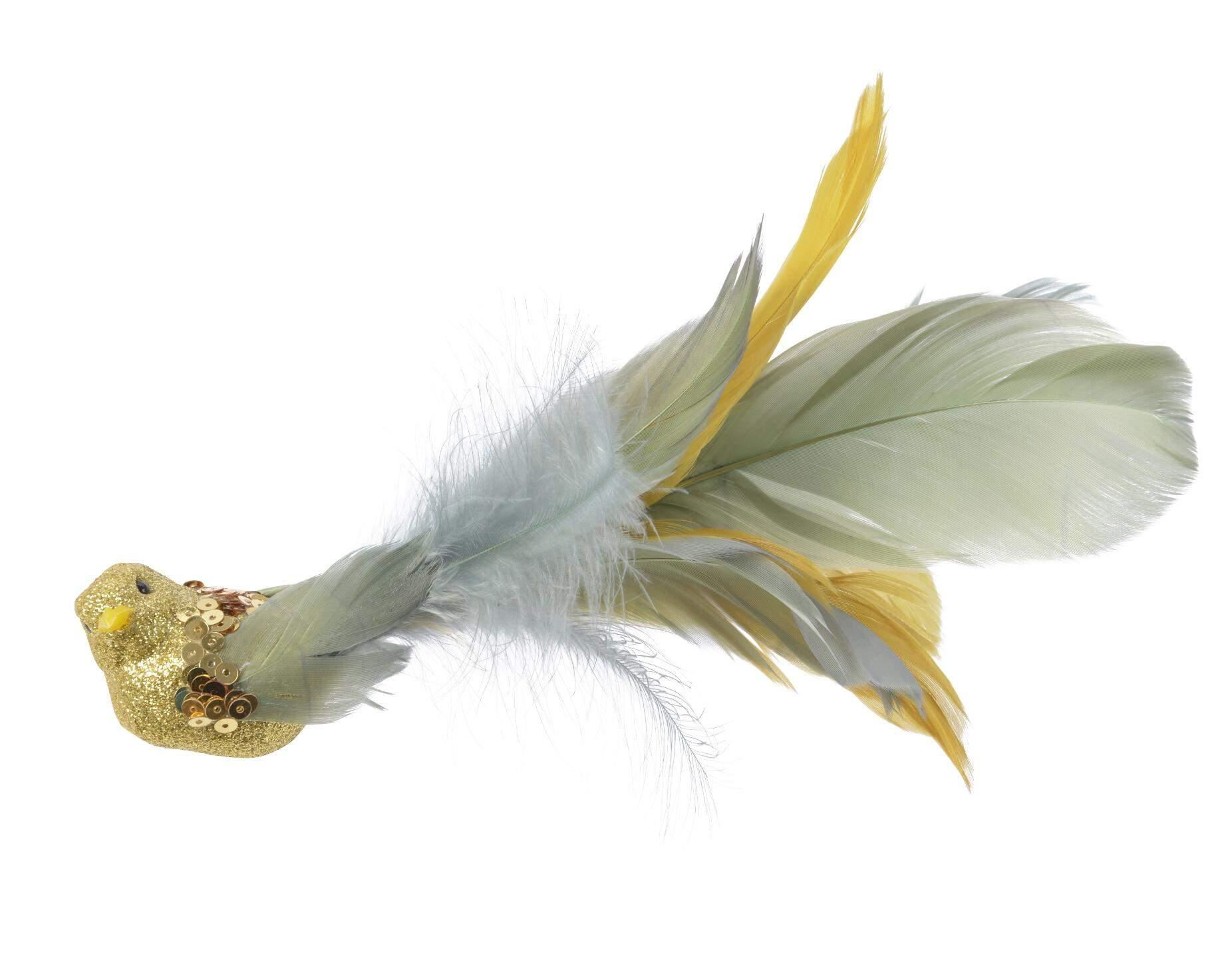weihnachten foam vogel a clip federschwanz senf 4x20x5 2