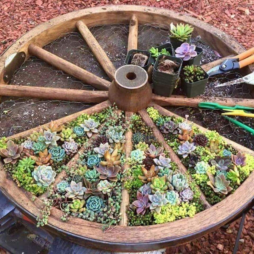 Wagenrad Deko Garten Genial Wheel Planter